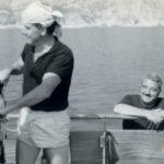 Bergomi in barca con l'industriale, amico e collezionista, Giuseppe Ciocca negli anni '60.