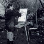 "Giacomo mentre disegna ""en plein air"" negli anni '60."