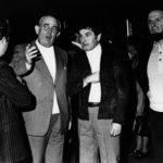 """Da sinistra, Bruno Boni, Sindaco di Brescia, Giacomo Bergomi e l'amico dott. Sergio Gianani alla vernice della personale alla Galleria """"La Leonessa"""" il 29 ottobre del 1977."""