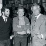 Giacomo Bergomi e Luca Goldoni negli anni '80 alla Libreria Tarantola di corso Zanardelli a Brescia.