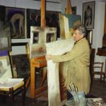 Bergomi nella sua casa-studio a Berlinghetto negli anni '90.